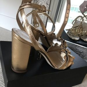 JCrew Gold Leather chunky heel Sandals